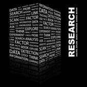 RESEARCH. Word collage on black background — Stock Vector