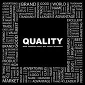 QUALITY. Word collage on black background — Stock Vector