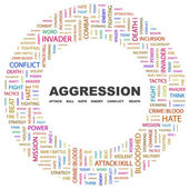 AGGRESSION. Word collage on white background — Stock Vector