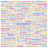 MOVEMENT. Word collage on white background — Stock Vector