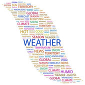 WEATHER. Word collage on white background — Stock Vector