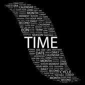Temps. mot collage sur fond noir — Vecteur