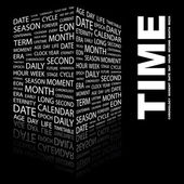 TIME. Word collage on black background — Stock Vector