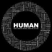 HUMAN. Word collage on black background — Stock Vector