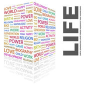 LIFE. Word collage on white background — Stock Vector