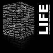 Vida. palabra collage sobre fondo negro — Vector de stock