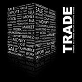 TRADE. Word collage on black background — Stock Vector