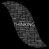 Σκέψης. λέξη κολάζ σε μαύρο φόντο — Διανυσματικό Αρχείο