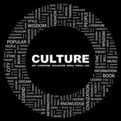 CULTURE. Word collage on black background — Stock Vector