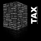 TAX. Word collage on black background — Stock Vector