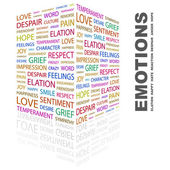 EMOTIONS. Word collage on white background — Stock Vector