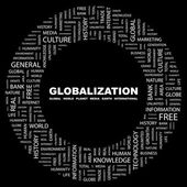 Globalization. Word collage on black background — Stock Vector