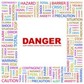 DANGER. Word collage on white background — Stock Vector
