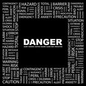 DANGER. Word collage on black background — Stock Vector