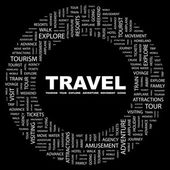 TRAVEL. Word collage on black background — Stock Vector