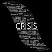 CRISIS. Word collage on black background — Stock Vector