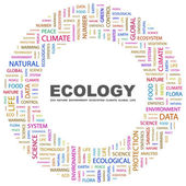 Ecology. Word collage on white background — Stock Vector