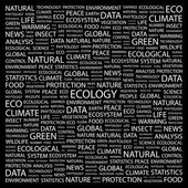 ECOLOGY. Word collage on black background — Stock Vector