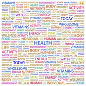 HEALTH. Word collage on white background — Vector de stock