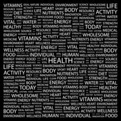 HEALTH. Word collage on black background — Stock Vector