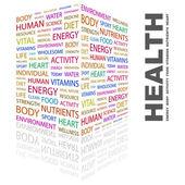 Saúde. palavra colagem sobre fundo branco — Vetorial Stock