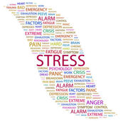 STRESS. Word collage on white background. — Stock Vector