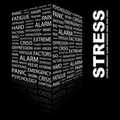 STRESS. Word collage on black background — Stock Vector