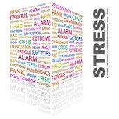 Estrés. palabra collage sobre fondo blanco. — Vector de stock