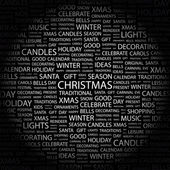 CHRISTMAS. Word collage on black background — Stock Vector