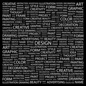 DESIGN. Word collage on black background — Stock Vector