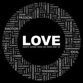 LOVE. Word collage on black background — Stock Vector