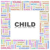 CHILD. Word collage on white background — Stockvector