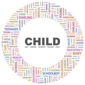 CHILD. Word collage on white background — Stock vektor