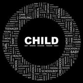 CHILD. Word collage on black background — ストックベクタ