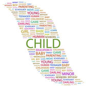 CHILD. Word collage on white background — 图库矢量图片