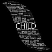 CHILD. Word collage on black background — Stok Vektör