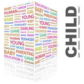 CHILD. Word collage on white background — Vector de stock