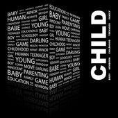 CHILD. Word collage on black background — Vetorial Stock