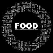 食物。黑色背景上的字拼贴画 — 图库矢量图片