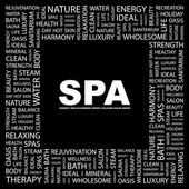 SPA. Word collage on black background — Stock Vector