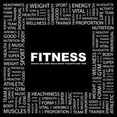 FITNESS. Word collage on black background. — Vector de stock