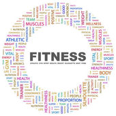 FITNESS. Word collage on white background — Stock Vector