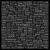 FITNESS. Word collage on black background. — Stock Vector