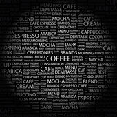 COFFEE. Word collage on black background — Stock Vector