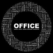 OFFICE. Word collage on black background — Stock Vector