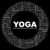 Yoga. wort-collage auf schwarzem hintergrund — Stockvektor
