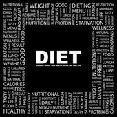 DIET. Word collage on black background — Stock Vector