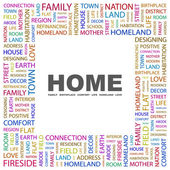 HOME. Word collage on white background — Vector de stock