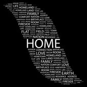 HOME. Word collage on black background — Stock Vector
