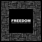 FREEDOM. Word collage on black background — Stock Vector
